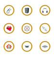 rockstar icons set cartoon style vector image