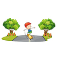 A boy skateboarding at the street vector image vector image