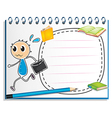 A notebook with a drawing of a boy holding an vector image vector image