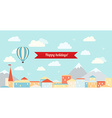 Air balloon in the cloudy sky flying over the city vector image