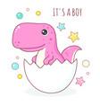 birthday card with cute dinosaur bain eggshell vector image vector image