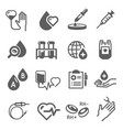 blood donation icon set healthcare and hospital vector image vector image
