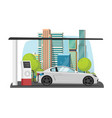 car refueling on city petrol gas fuel station vector image vector image