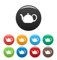 ceramic teapot icons set color vector image vector image