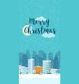 christmas winter city vertical landscape vector image vector image