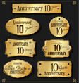 collection of anniversary retro gold labels 10 vector image vector image