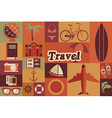 Collection of flat vintage retro travel icons flat vector image vector image