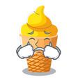 crying banana ice cream in shape cartoon vector image vector image
