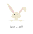 Cute Easter Bunny peeping over the top of a blank vector image