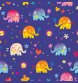 cute elephants and flowers seamless pattern vector image