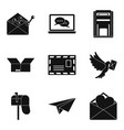 delivery of letter icons set simple style vector image vector image