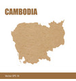 detailed map of cambodia cut out of craft paper vector image