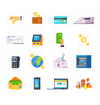 financial technology icons vector image vector image
