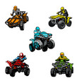 five full-color quad bikes from different angles vector image vector image