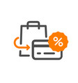 flat line design concept icon purchase returns vector image vector image