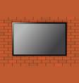flat modern smart tv on brick wall vector image vector image