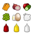 food products icon set vector image vector image