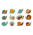 funny snail logo for your design vector image vector image
