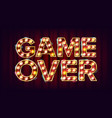 game over banner casino 3d glowing element vector image