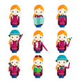 Girl traveling actions set vector image vector image