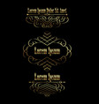 golden calligraphic borders frames set vector image