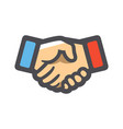 handshake two hands handclasp icon cartoon vector image