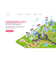 isometric city landing page 3d smart city concept vector image vector image