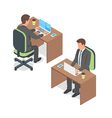 Isometric of businessman working at a computer vector image vector image