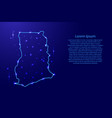 map ghana from the contours network blue luminous vector image vector image