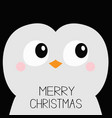 merry christmas penguin bird square head face vector image