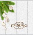 merry christmas poster with balls and branches vector image