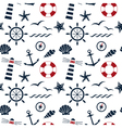 nautical seamless pattern white vector image vector image