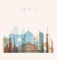 new delhi skyline detailed silhouette vector image