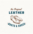 original leather boots and shoes retro sign vector image vector image