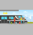 passengers with luggage standing on platform vector image