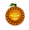 pumpkin award with ribbon and scary face vector image vector image