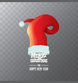 red santa hat label isolated on transparent vector image