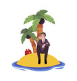sad businessman sitting alone on island surrounded vector image vector image