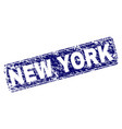 scratched new york framed rounded rectangle stamp vector image