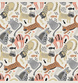 seamless pattern with cute cats in simple vector image
