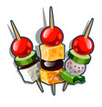 set of canape cheese cubes olives and tomatoes vector image