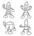 set of pen pencil and eraser cartoon vector image