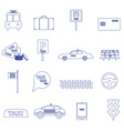 simple taxi blue outline icons set eps10 vector image
