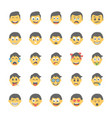 smiley flat icons set 24 vector image vector image