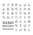 spa beauty makeup and cosmetics thin line vector image