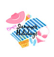 summer holidays hand drawn lettering beach bag vector image vector image