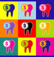 the cost of tooth treatment sign pop-art vector image vector image
