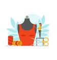 tiny seamstress sewing fashionable clothes on big vector image vector image