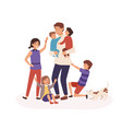tired father having many children flat vector image vector image