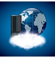 Web hosting with planet icon Data center design vector image vector image
